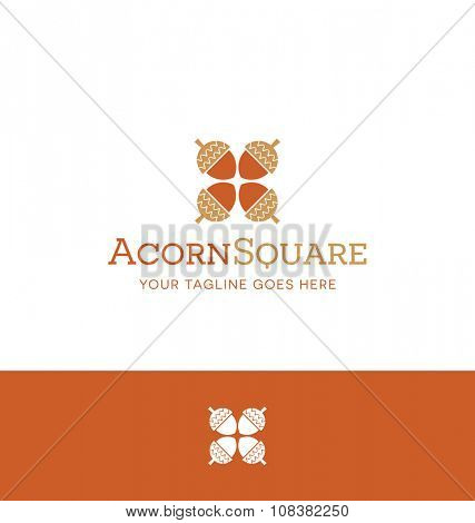 square acorn logo for creative business, shop or website