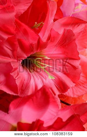 Artificial Flowers Red Handmade Velor Tissue Background Close Up