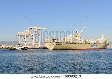 Alameda, CA - March 9, 2015: Oakland Oakland Container Shipyard, San Francisco Bay, the MATSON ship
