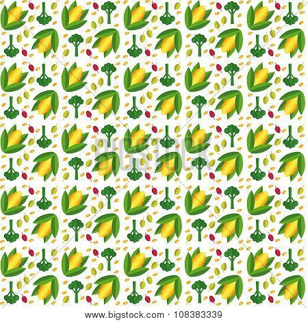 Vegetables Seamless Pattern  In Flat Style With Corn