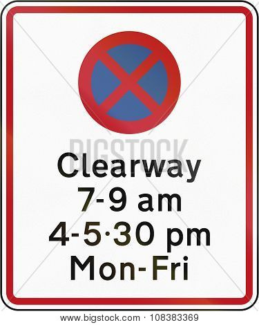 New Zealand Road Sign Rp-3.5 - Clearway (no Stopping) During Time Prescribed Combined With Parking R