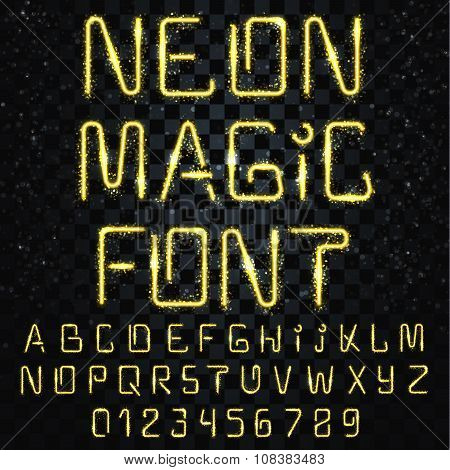 Font magic. Bright, shiny font. Electric letters, numbers, light effects