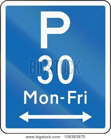 New Zealand Road Sign - Parking Permitted During Non-standard Hours For A Maximum Time Of 30 Minutes