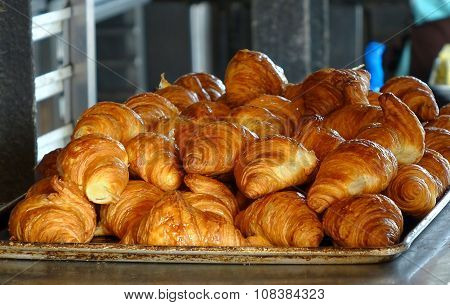 Fresh Croissant Pastry On A Tray