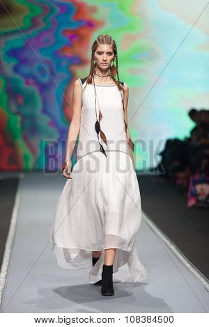ZAGREB, CROATIA - OCTOBER 31, 2015: Fashion model wearing clothes designed by Ana Maria Ricov on the 'Fashion.hr' fashion show