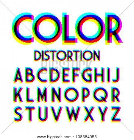 Color distortion alphabet. Vector.