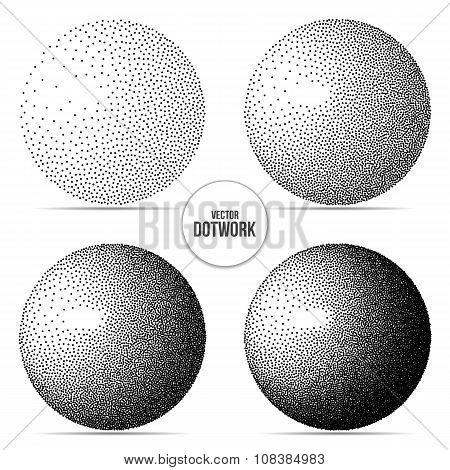 Dotwork Sphere. Vector Illustration.