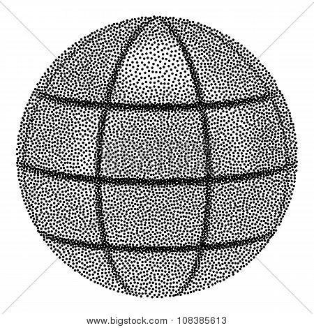 Dotwork Globe Sphere. Vector Illustration.