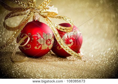 Christmas balls with golden ribbon