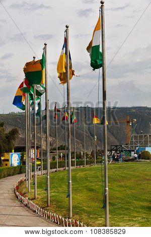 Flags Of City Mitad Del Mundo