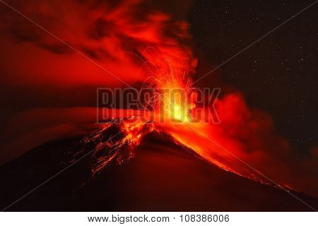 Long Exposure Of Tungurahua Volcano