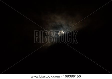 Night Cloudy Sky With Full Moon And Clouds Lunar Eclipse