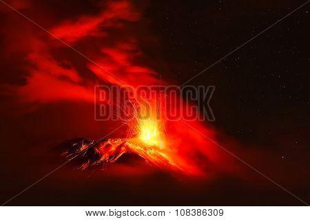 Powerful Explosion Of Tungurahua Volcano At Night