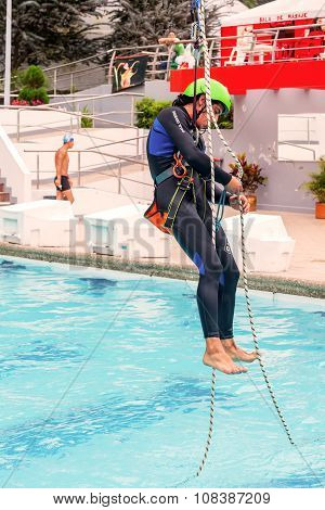 Fitness Rope Climb Exercise In The Pool