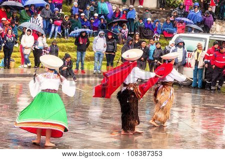 Indigenous People Dressed Traditional, Ecuador