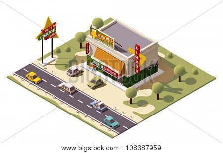 Vector isometric liquor store building