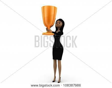 3D Woman Holding Golden Cup Concept