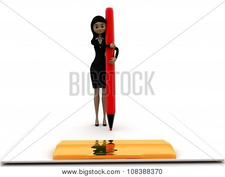 3D Woman Holding Pen On A Large Clipboard Concept