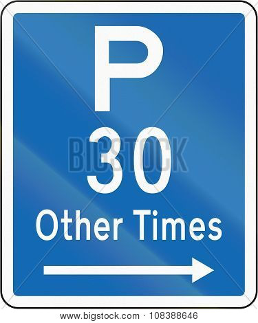 New Zealand Road Sign - Parking Permitted At Other Times For A Maximum Time Of 30 Minutes, On The Ri