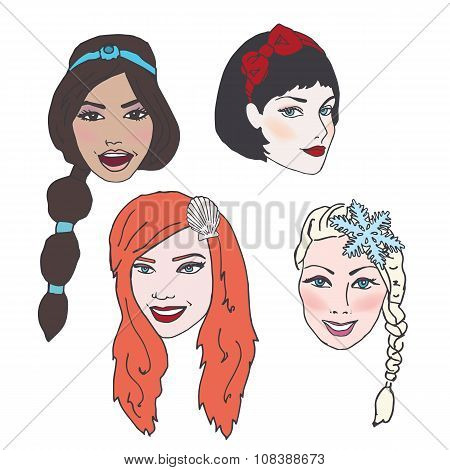 Beautiful women or princesses with Long Flowing Hair, Nice Makeup, and Accessories