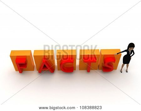 3D Woman Presenting Facts Concept