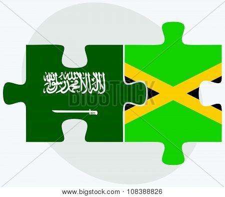 Saudi Arabia And Jamaica Flags