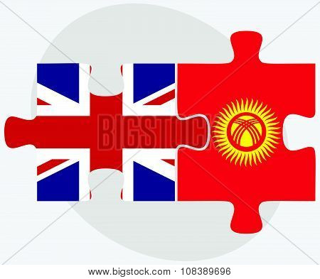 United Kingdom And Kyrgyzstan Flags