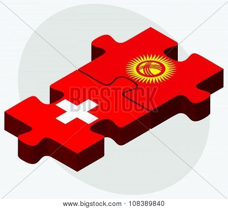 Switzerland And Kyrgyzstan Flags