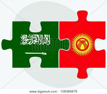 Saudi Arabia And Kyrgyzstan Flags