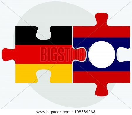 Germany And Laos Flags