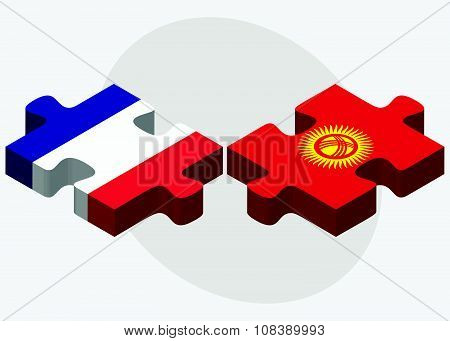France And Kyrgyzstan Flags
