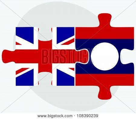 United Kingdom And Laos Flags
