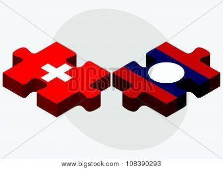 Switzerland And Laos Flags
