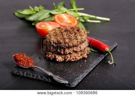 Food. Delicious cutlet on the table