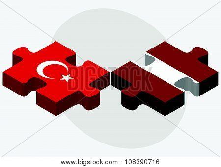 Turkey And Latvia Flags
