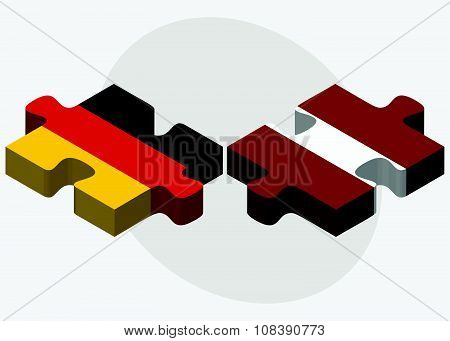 Germany And Latvia Flags