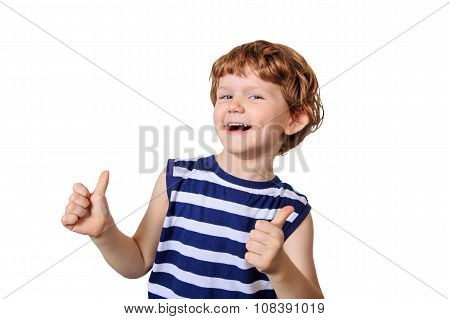 Laughing Child Showing Thumbs Up.