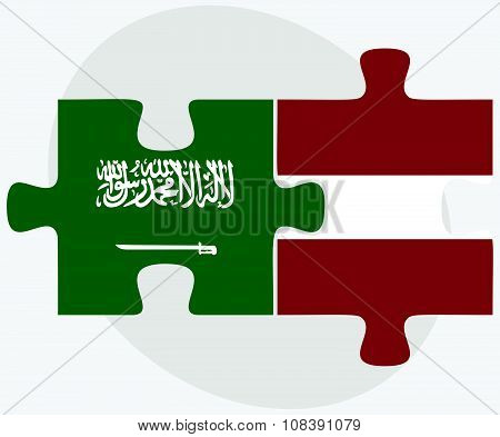 Saudi Arabia And Latvia Flags