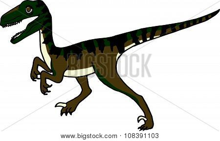 Cute Velociraptor or Raptor Dinosaur Stalking his Prey, or maybe Running, Walking, or Standing.