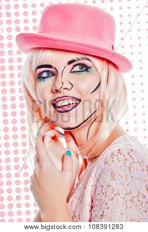 Girl In Pink Hat In Pop Art Style On Colored Background.