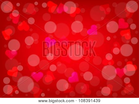 Abstract Hearts And Bokeh For Valentines Day Red Color Background