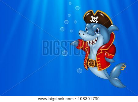 Cartoon shark pirate swimming in the ocean