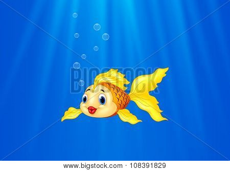 Cartoon goldfish swimming in the water
