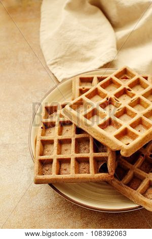 Food. Delicious waffle on the table
