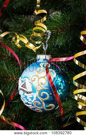 beautiful blue ball on the Christmas tree