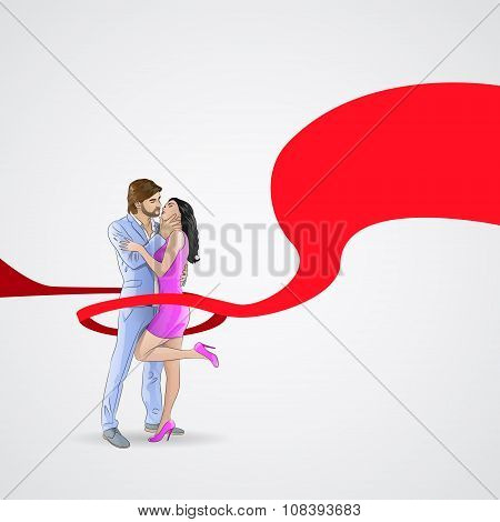 World AIDS Day Awareness Red Ribbon Concept Love Couple