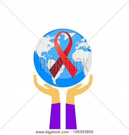Hands Hold Palm Earth Globe World AIDS Day Awareness