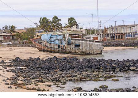 Old Ship Aground On A Beach