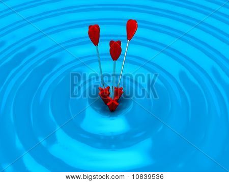 3D Target With Arrows Over White Background