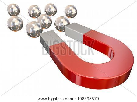 A red magnet pulling silver metal ball bearings to illustrate or symbolize physical attraction or force